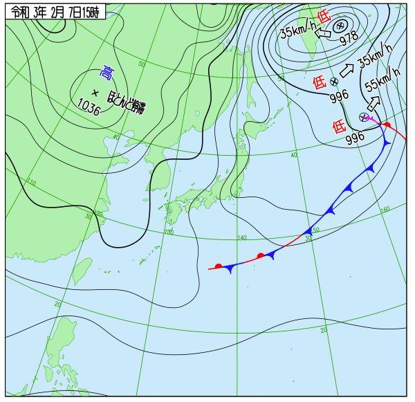 2月7日天気図(出典:気象庁ホームページ)